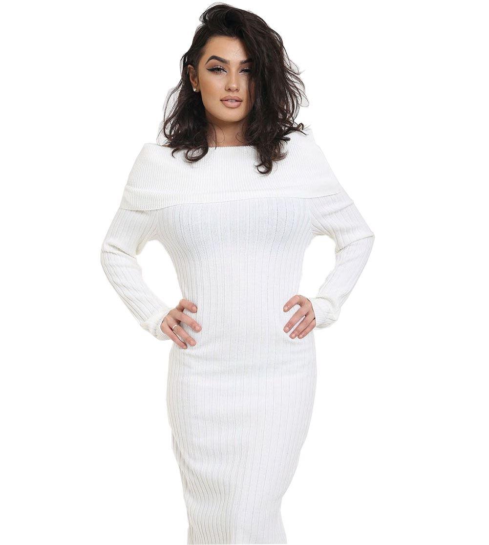 Long sleeve off shoulder ribbed cable knitted jumper bardot midi dress