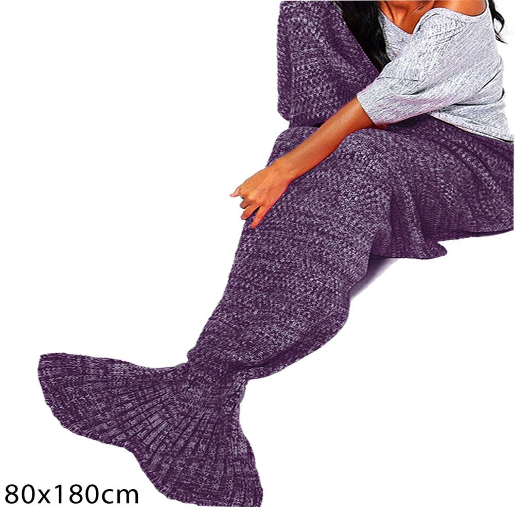 New Mermaid Fishtail Knitted Wrap Sofa Quilt Rug Crocheted Adult Lapghan Blan...