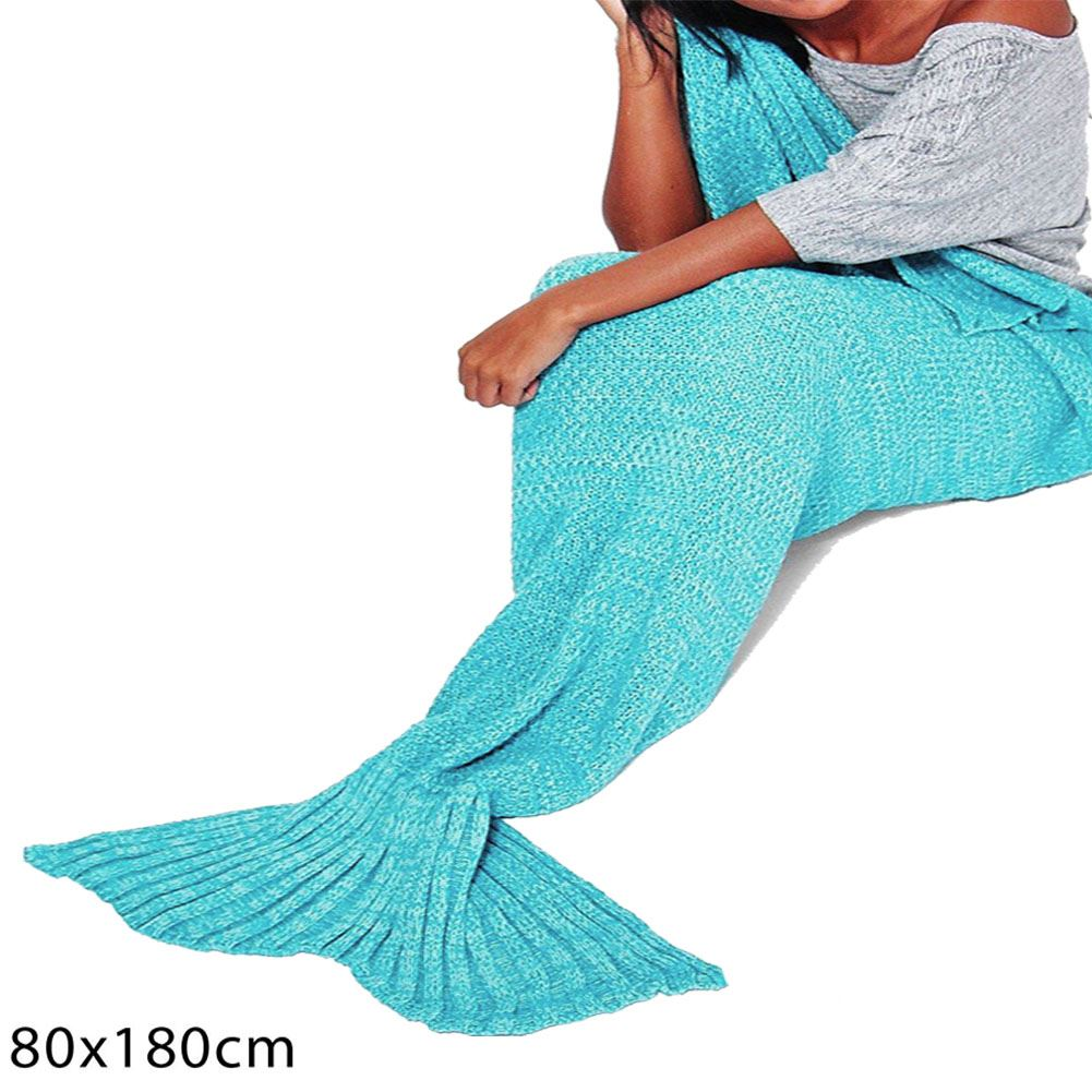 Knitting Pattern Fishtail Blanket : New Mermaid Fishtail Knitted Wrap Sofa Quilt Rug Crocheted Adult Lapghan Blan...