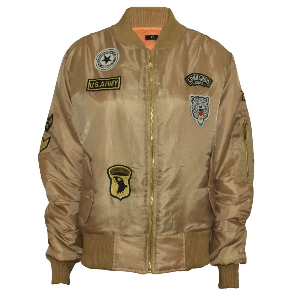 New Ladies Womens Combat Badge Airforce Bomber Jacket US Army ...