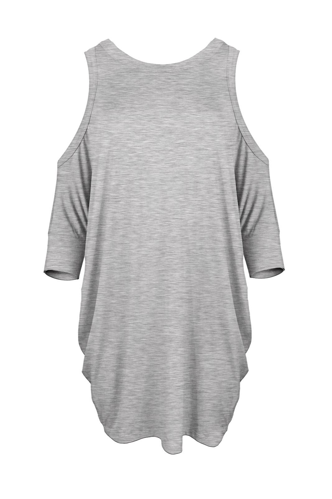 New womens ladies cut out shoulder short sleeve sexy t for Short sleeve t shirts with longer sleeves