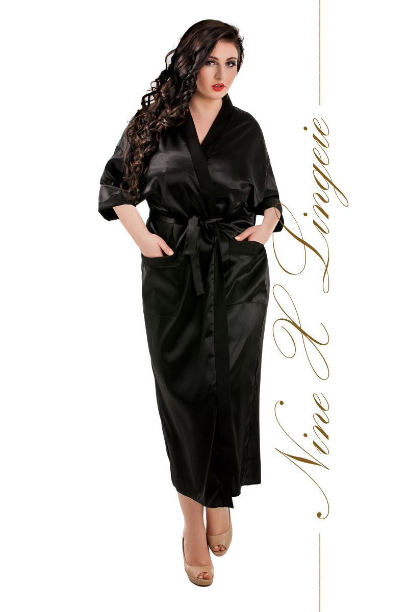 nine x robe de chambre longue en satin s m l xl 2xl 3xl 4xl 5xl 6xl 7xl peignoir ebay. Black Bedroom Furniture Sets. Home Design Ideas