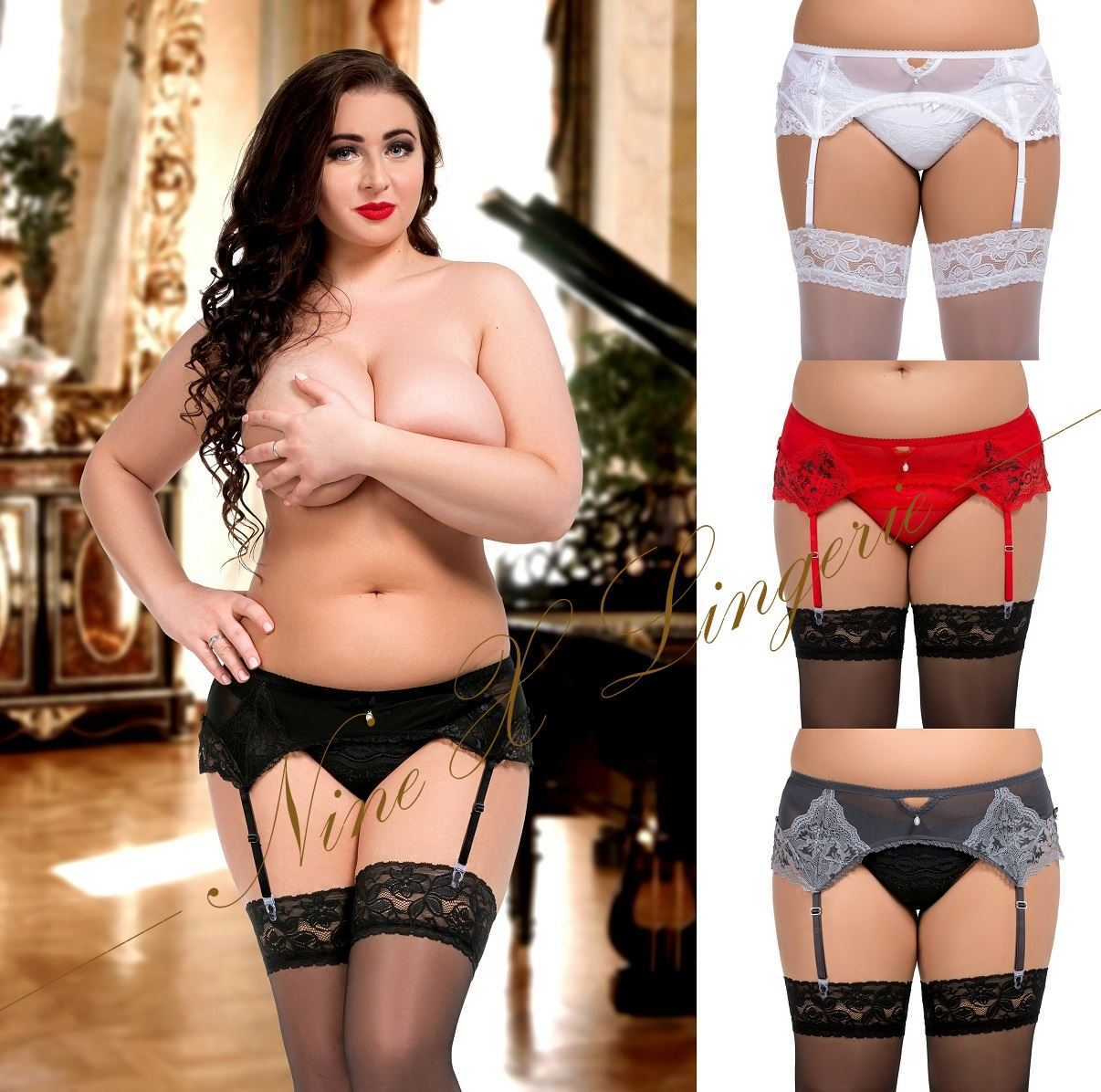 Nine X Plus Size S-8XL 8-28 Sexy Lace & Mesh Garter Belt Suspender ...