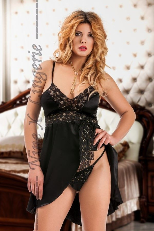 Nine X Sexy Satin Babydoll with G-string Plus Size Underwear