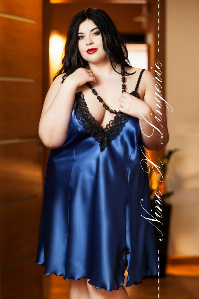 Nine X 'Maidie' Sexy Satin Chemise Babydoll Plus Size Lingerie