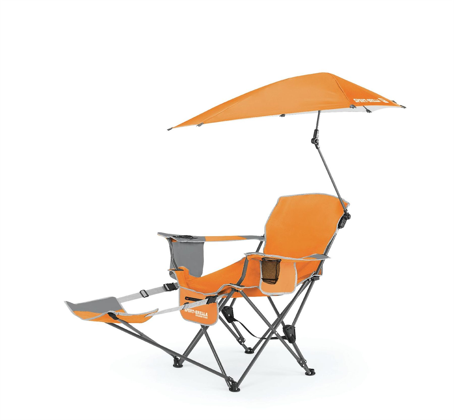 SportBrella portable camping chair folding recliner seat with footrest Ora