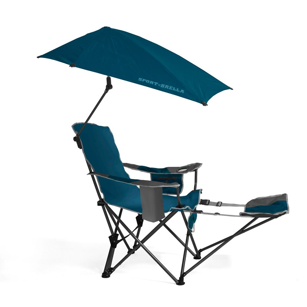 SportBrella portable camping chair folding recliner seat with footrest Blu