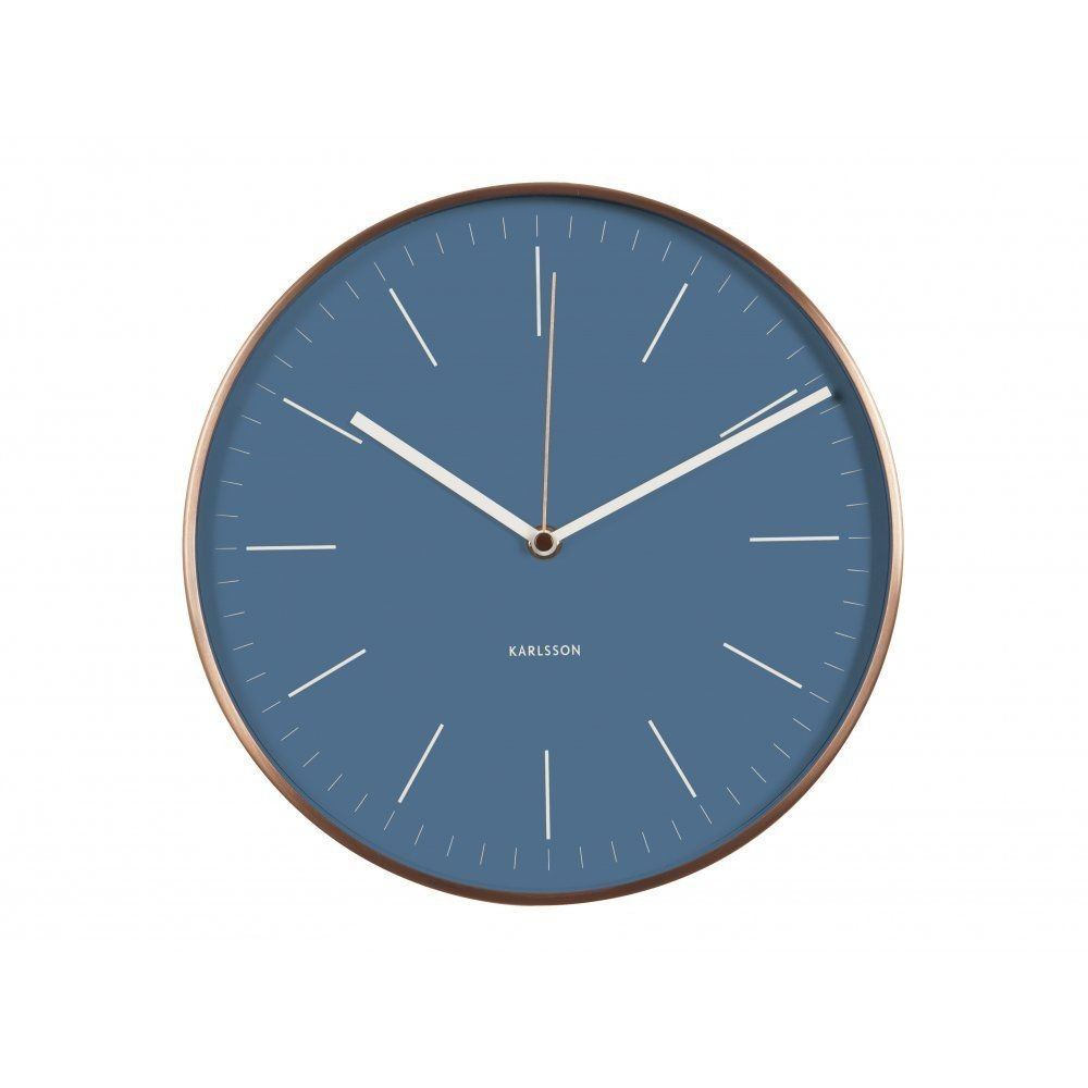 Karlsson Minimal Wall Clock Blue Face Copper Case Designer ...