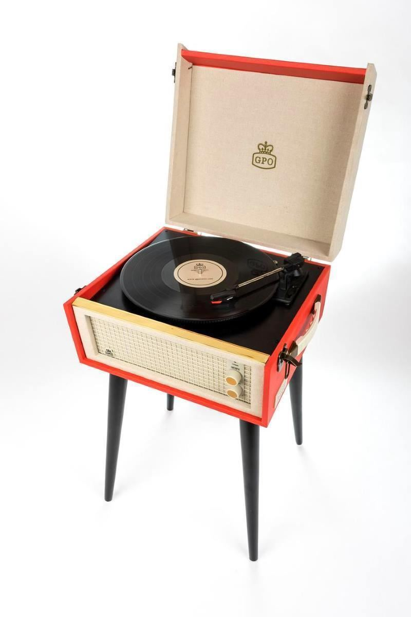 Gpo bermuda turntable red cream retro vinly record player with attachab - Lecteur vinyle retro ...
