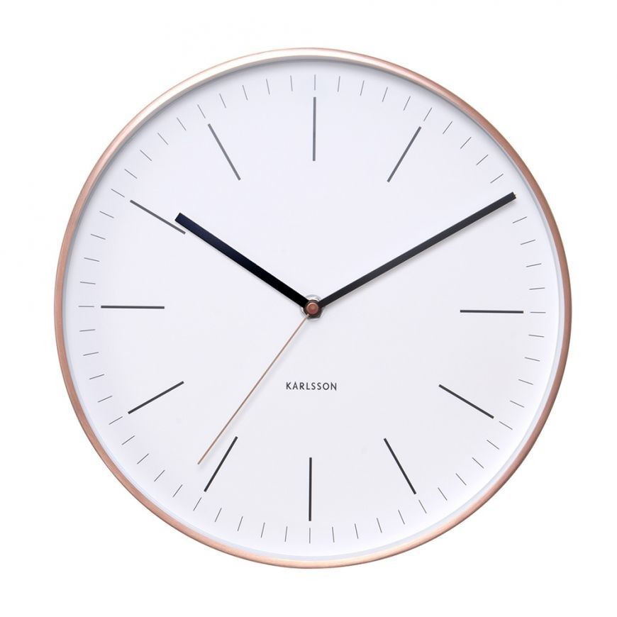 Wall Clock Minimal White Copper Case Designer Unique