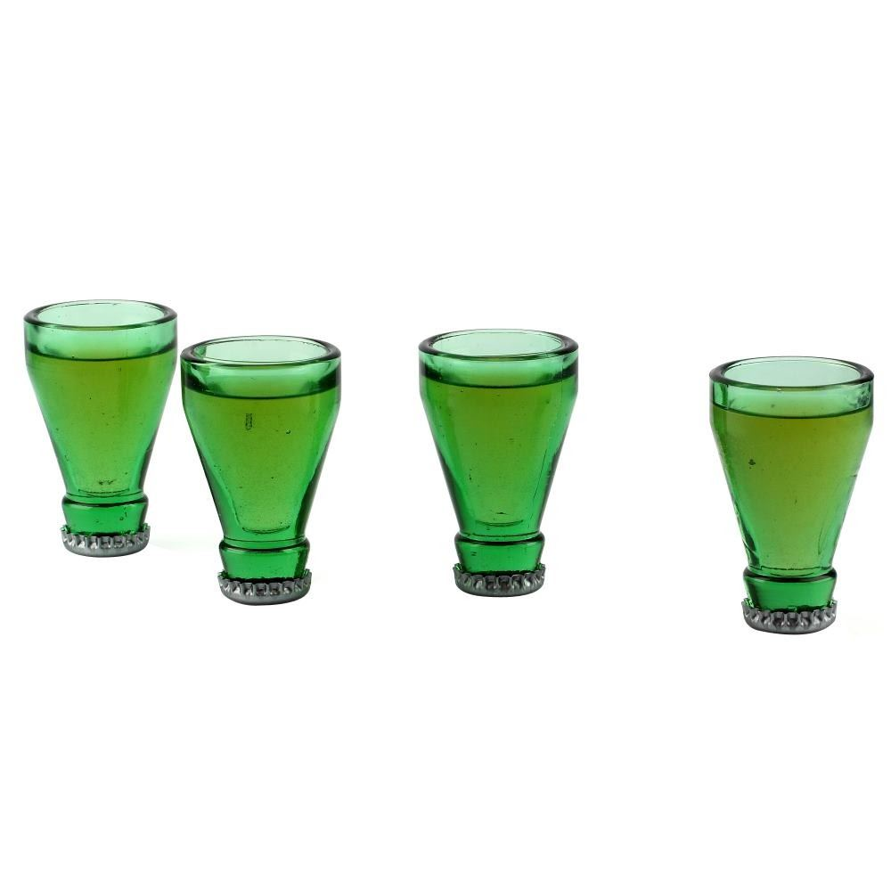 Top shots bottle top shot glasses set of 4 made from for Making glasses from bottles
