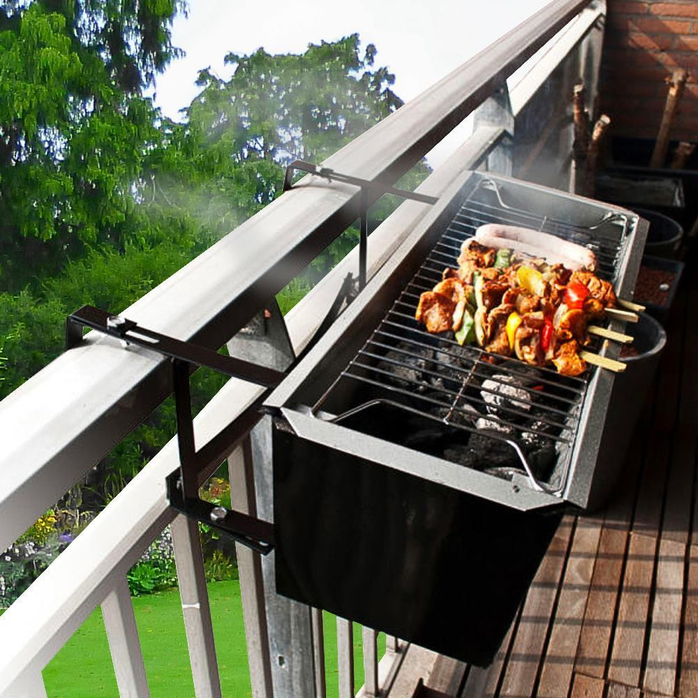 balcony bbq portable charcoal space saver hanging barbecue grill ebay. Black Bedroom Furniture Sets. Home Design Ideas