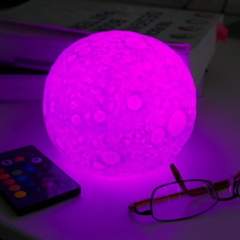 couleur changeante led lune lampe t l commande led pour enfants bureau veilleuse ebay. Black Bedroom Furniture Sets. Home Design Ideas