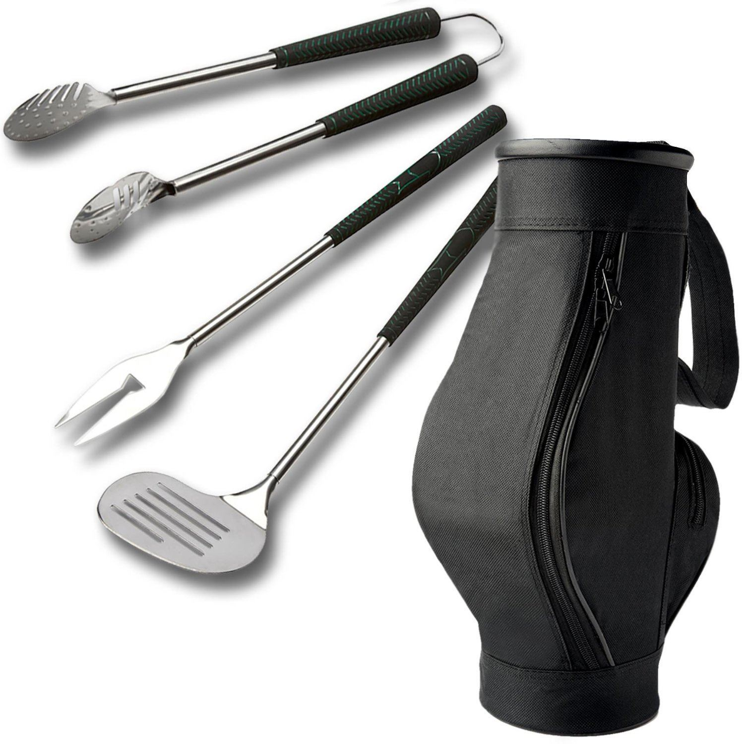brundle gardener 3 piece bbq golf bag grips steel barbacue tool utensils set ebay. Black Bedroom Furniture Sets. Home Design Ideas