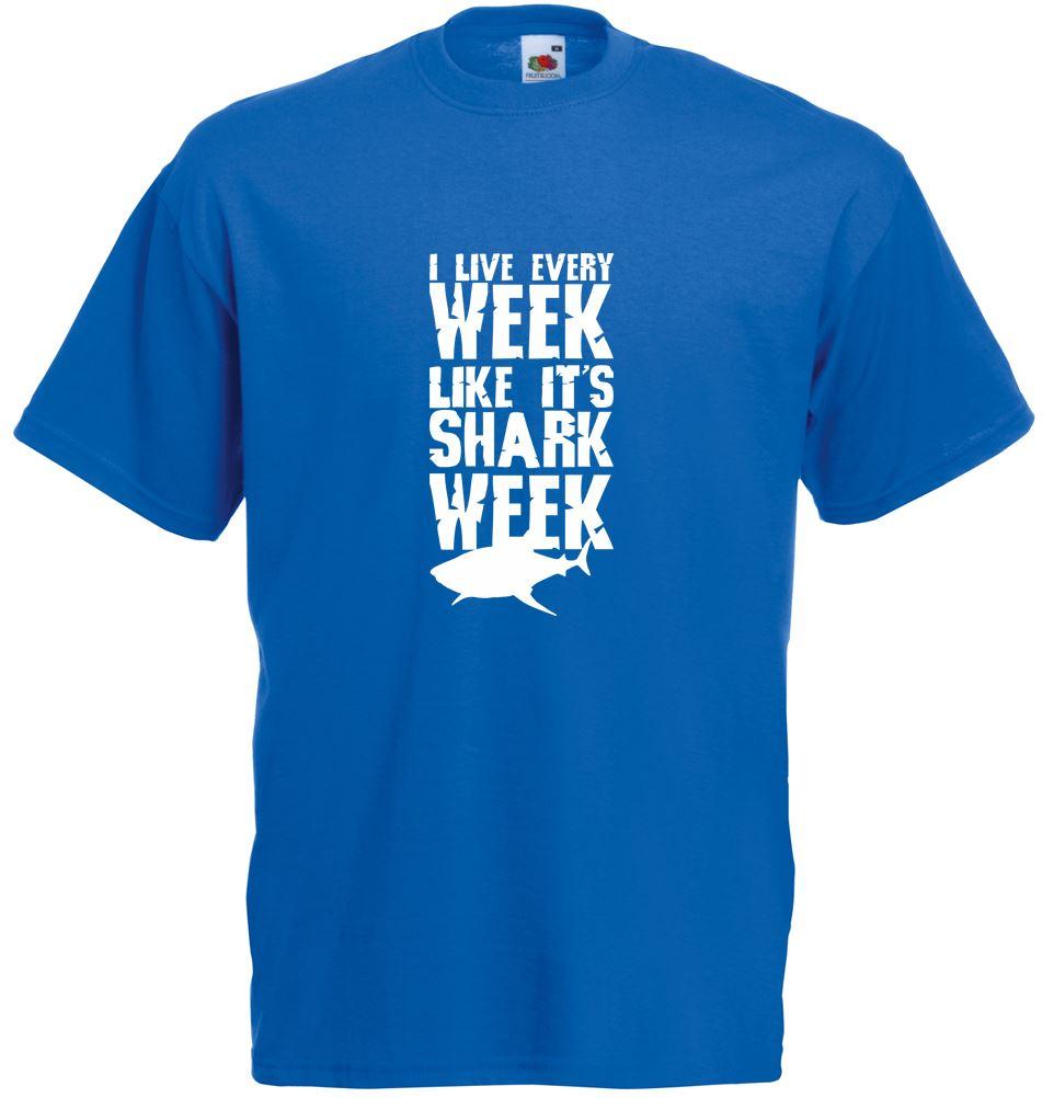 Shark week mens printed t shirt for Printed shirts for mens