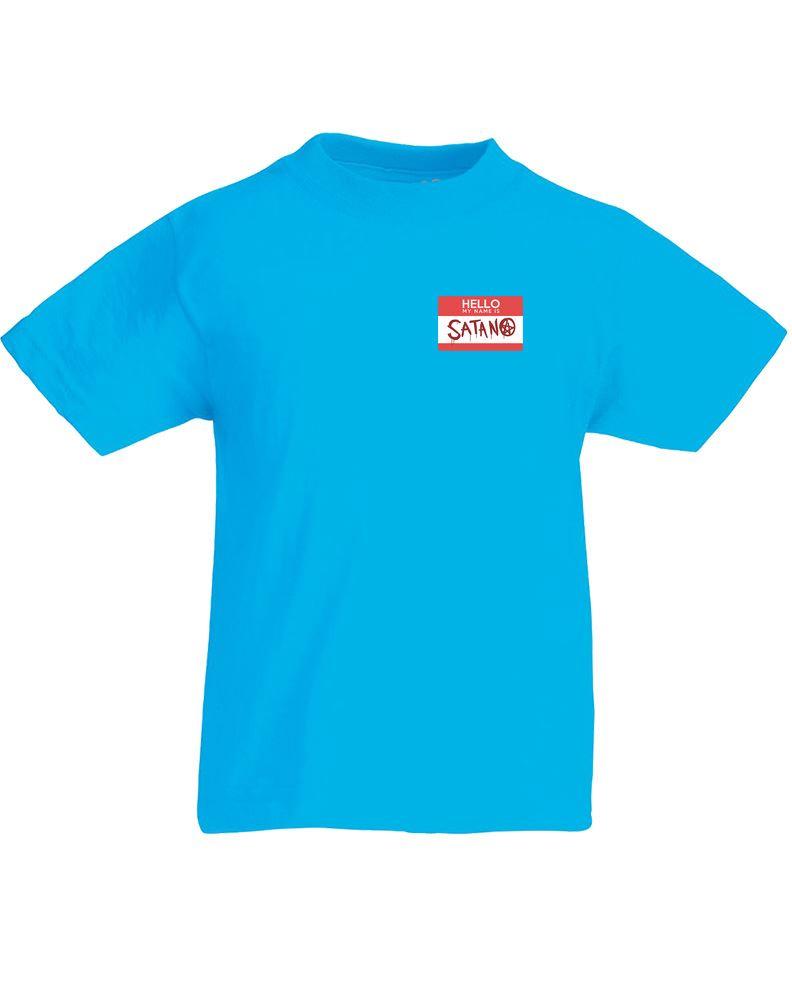 Brand88 hello my name is satan kids printed t shirt ebay for Print name on shirt