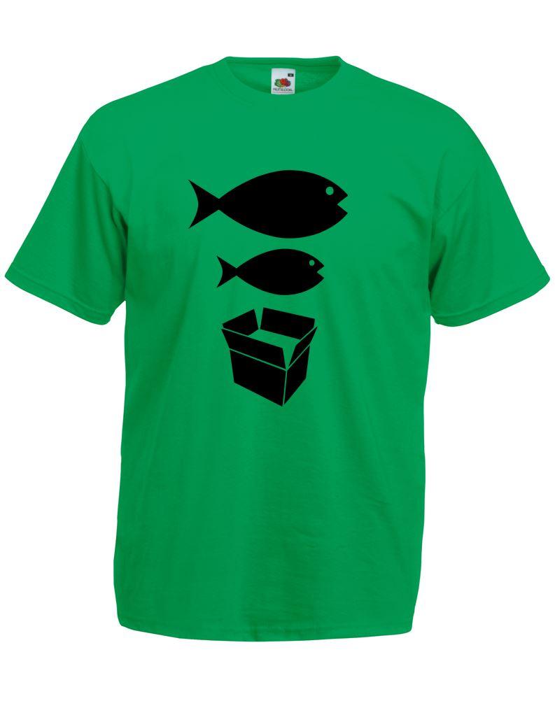 Big Fish Little Fish Cardboard Box Adults Printed T Shirt