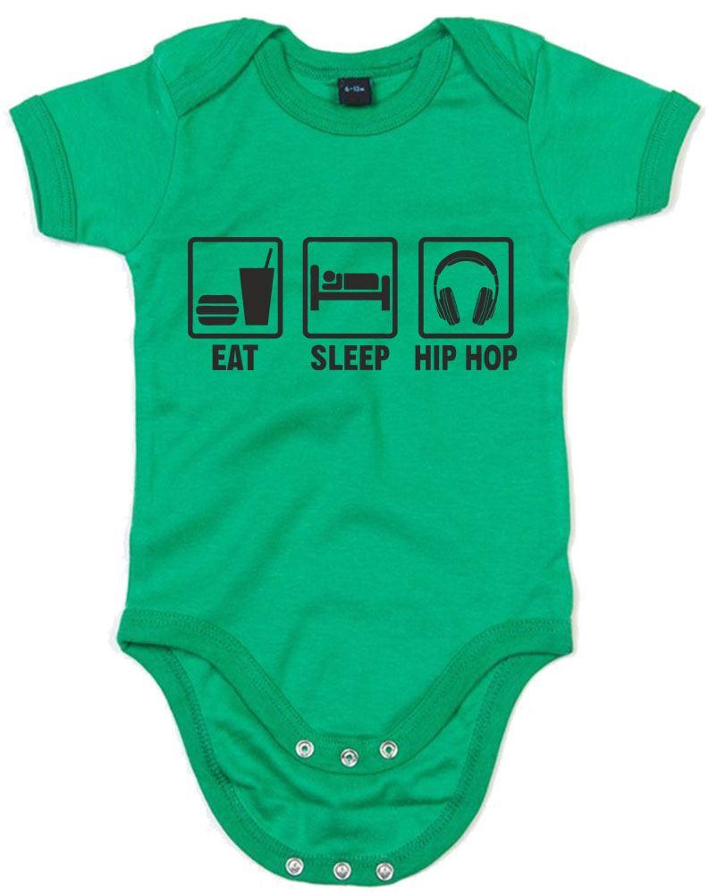 Eat Sleep Hip Hop Printed Baby Grow