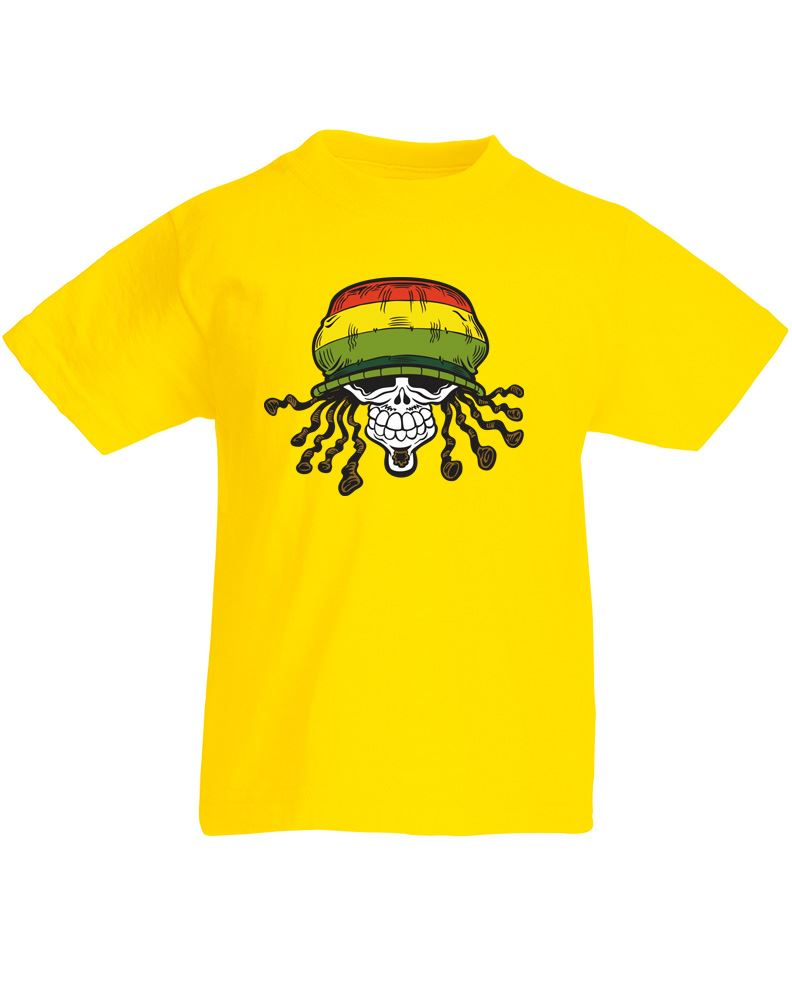 Rasta skull kids printed t shirt ebay for Toddler t shirt printing