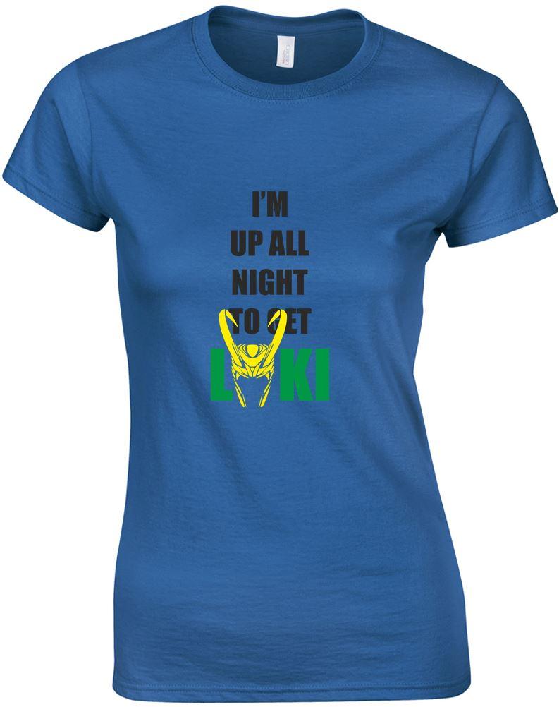 Up all night to get loki ladies printed t shirt ebay for Get t shirt printed