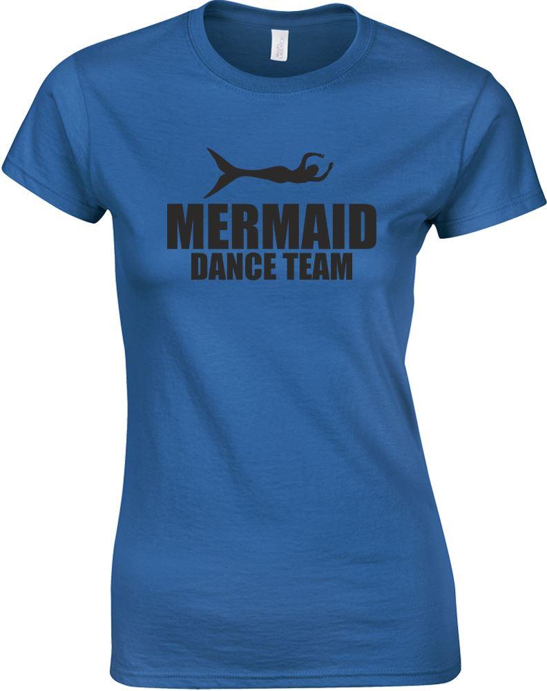 Mermaid dance team ladies printed t shirt ebay for Team t shirt printing