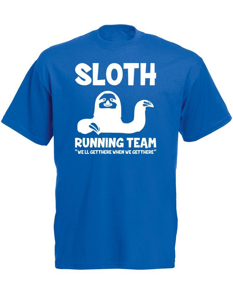 Sloth running team 2 mens printed t shirt for Team t shirt printing