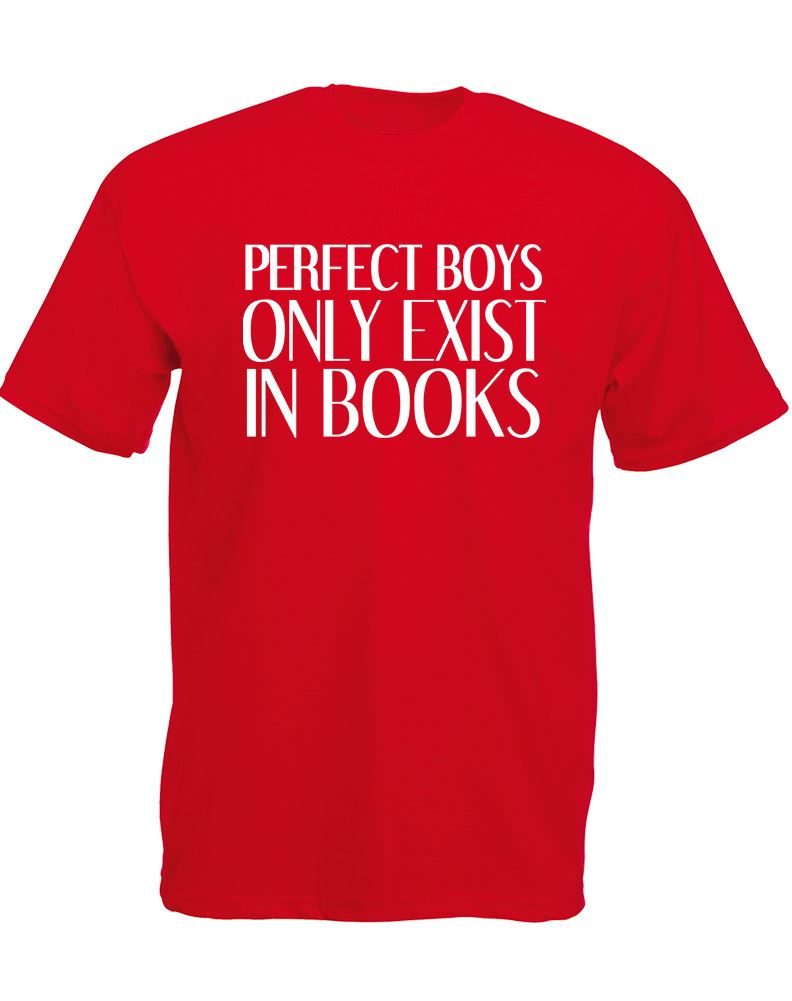 Brand88 perfect boys only exist in books mens printed t for Books printed on t shirts