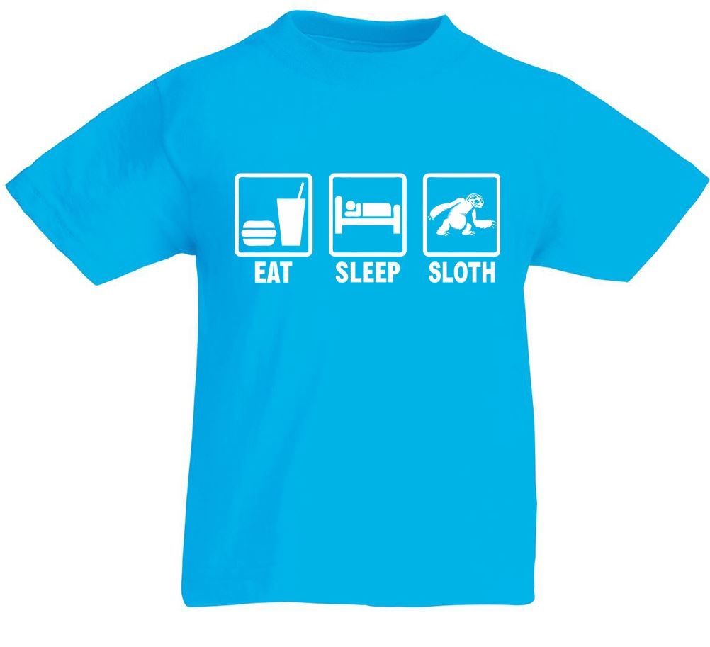 Eat sleep sloth kids printed t shirt ebay for Kids t shirt printing