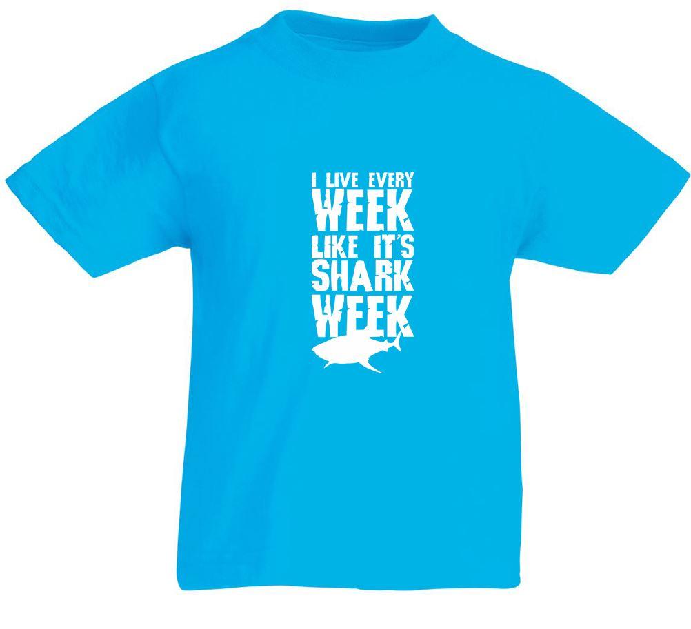 Shark week kids printed t shirt for Kids t shirt printing