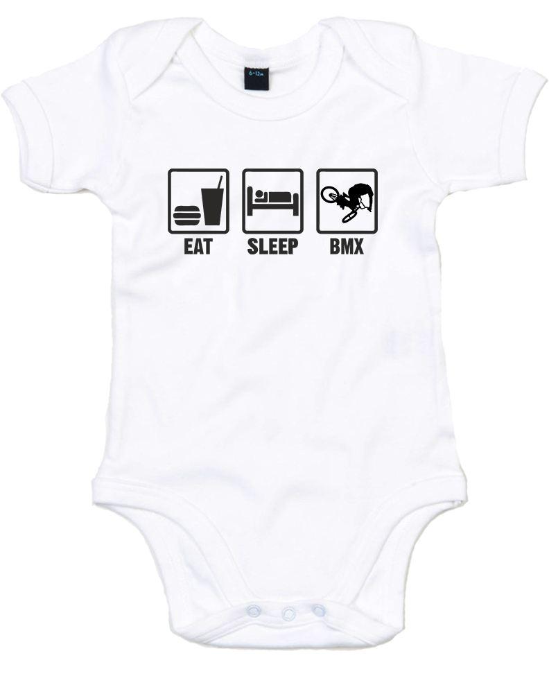 Eat Sleep Bmx Printed Baby Grow Ebay