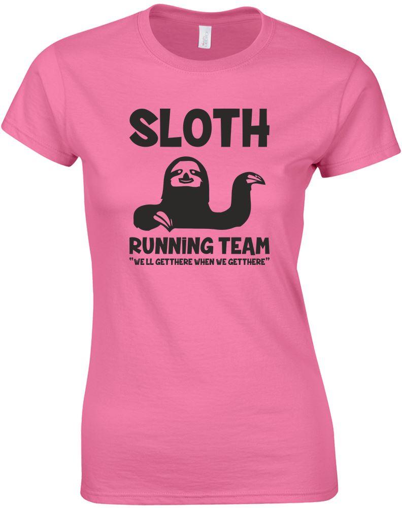 Sloth running team 2 ladies printed t shirt ebay for Team t shirt printing