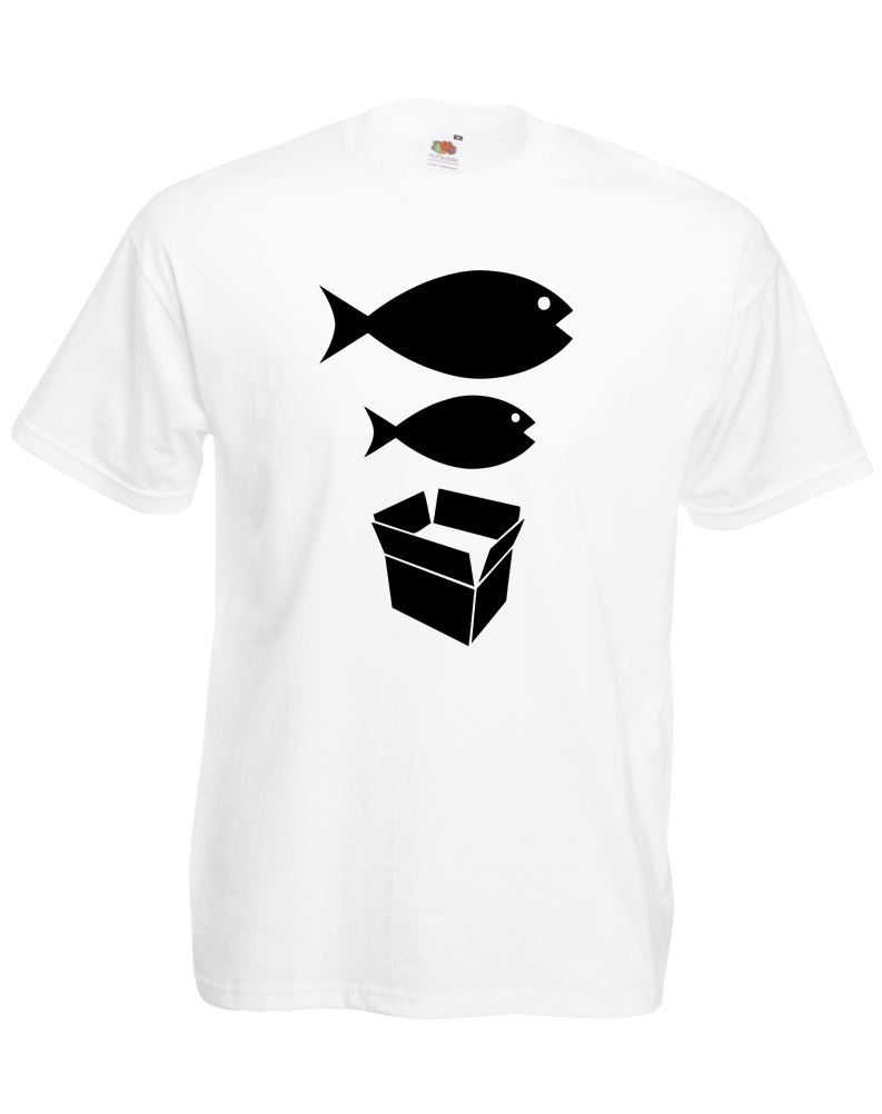 Big fish little fish cardboard box adults printed t shirt for Fish onesie for adults