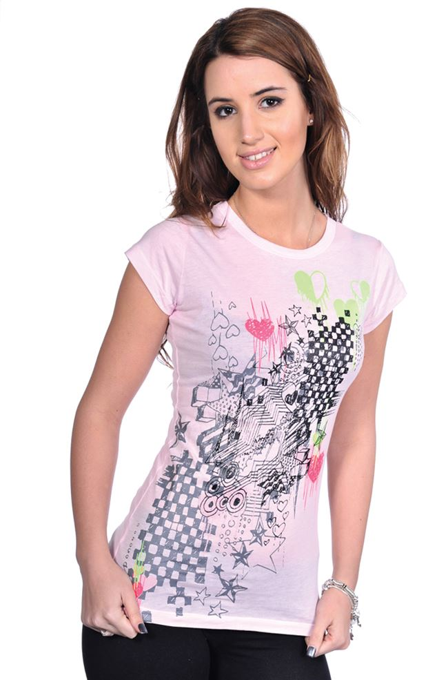 Girls pink tattoo design skinny t shirt top emo scene goth for Top 10 t shirt designs