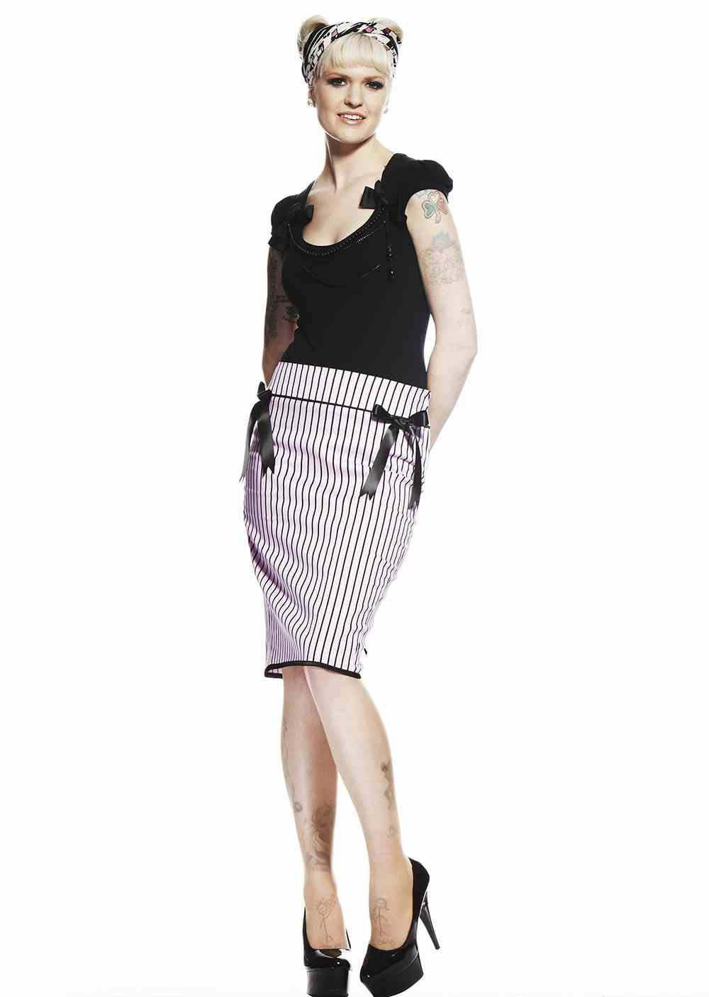 9c5b6155f9 Image is loading Hell-Bunny-Ms-Johnson-Pink-Pencil-Skirt-Rockabilly-