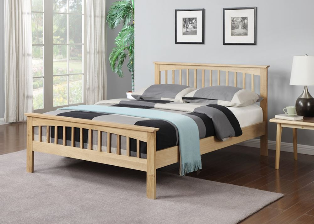 Happy Beds Saunton Wooden Bed Oak Finished Shaker Style Bedroom Furniture  New. Happy Beds Saunton Wooden Bed Oak Finished Shaker Style Bedroom