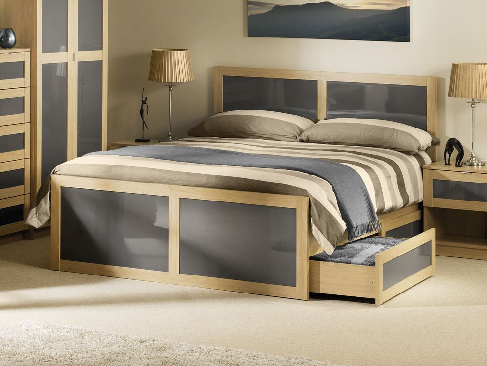 Happy beds strada bed light oak grey wood drawer for Bedroom ideas oak bed