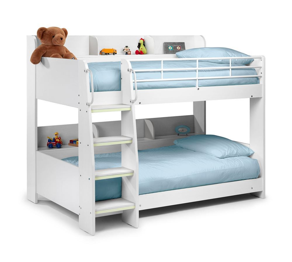 Happy beds domino sleep station maple white bunk bed 2x for Wooden bunkbeds