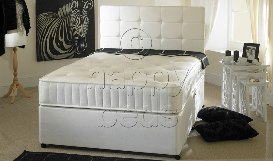 Happy Beds Divan 4ft Small Double Spring Memory Foam Mattress Storage Headboard Ebay
