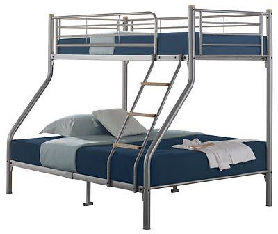 Quality Triple Sleeper Metal Bunk Bed Silver With 2 Mattresses