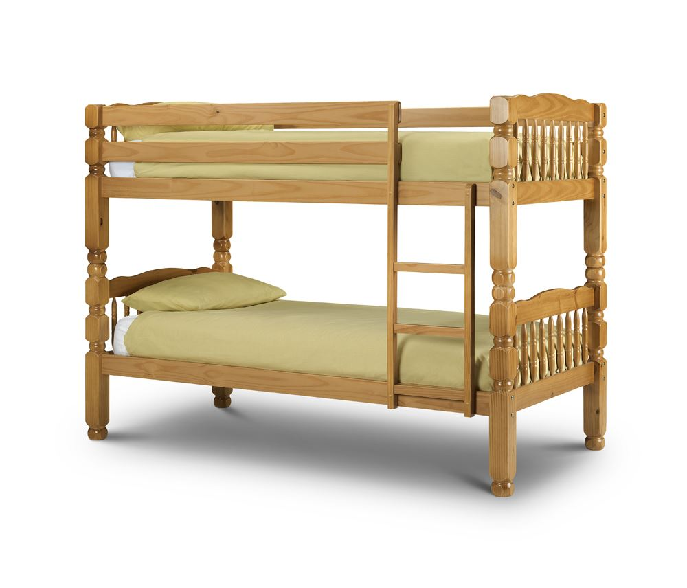 Happy beds chunky pine wood bunk bed frame 3ft single two for Single bunk bed