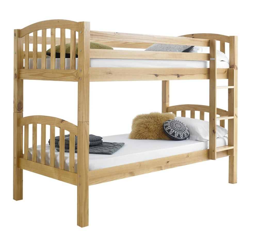 Happy beds american 3ft solid wooden bunk bed frame for Bunk bed frame