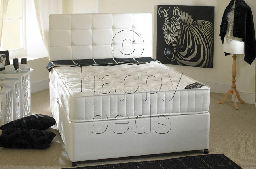Pocket sprung with memory foam 2ft 6 small single divan for Memory foam double divan bed sale