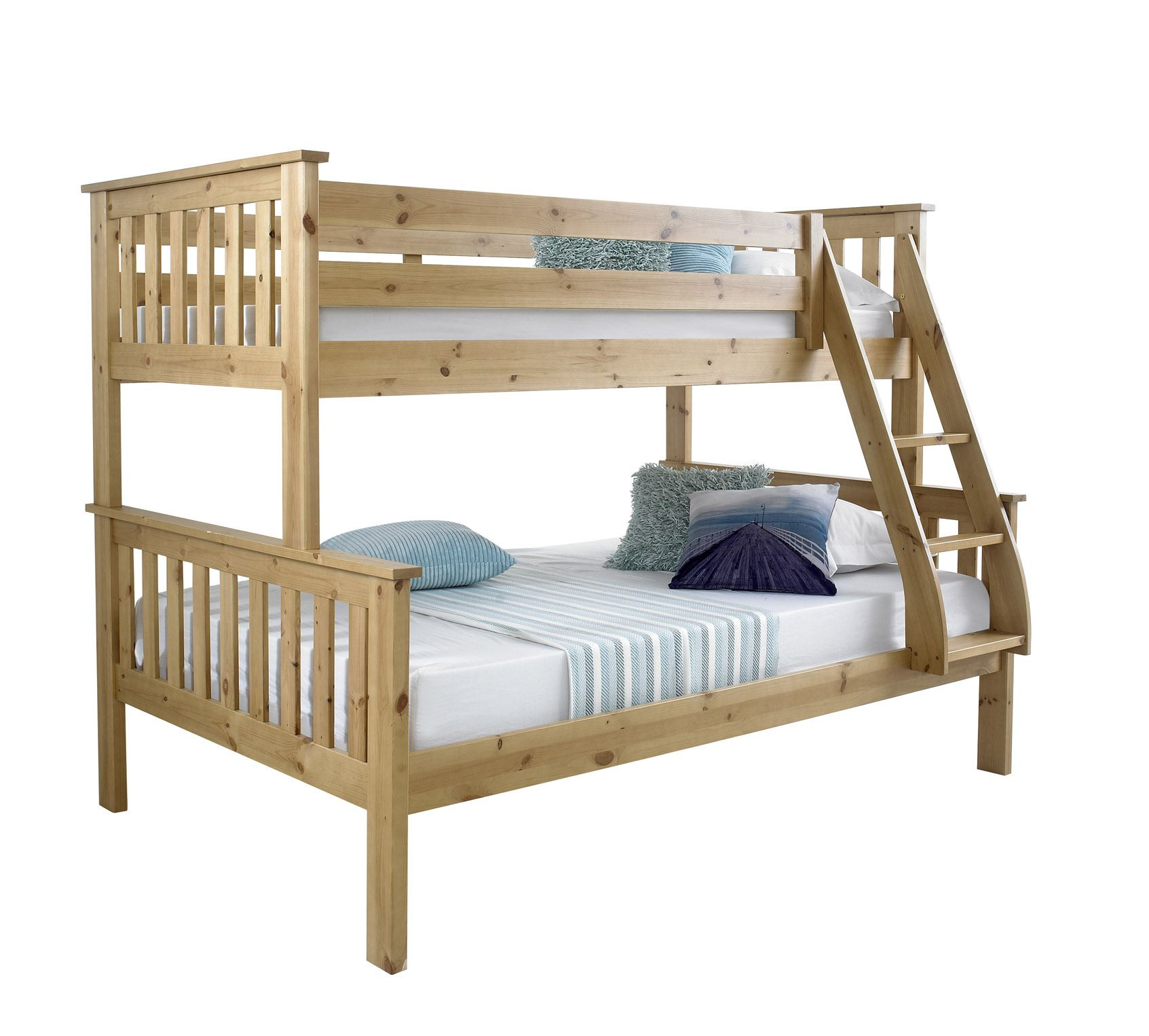 Bluemoon beds 4ft atlantis triple sleeper bunk bed solid for Bunk beds with mattresses included