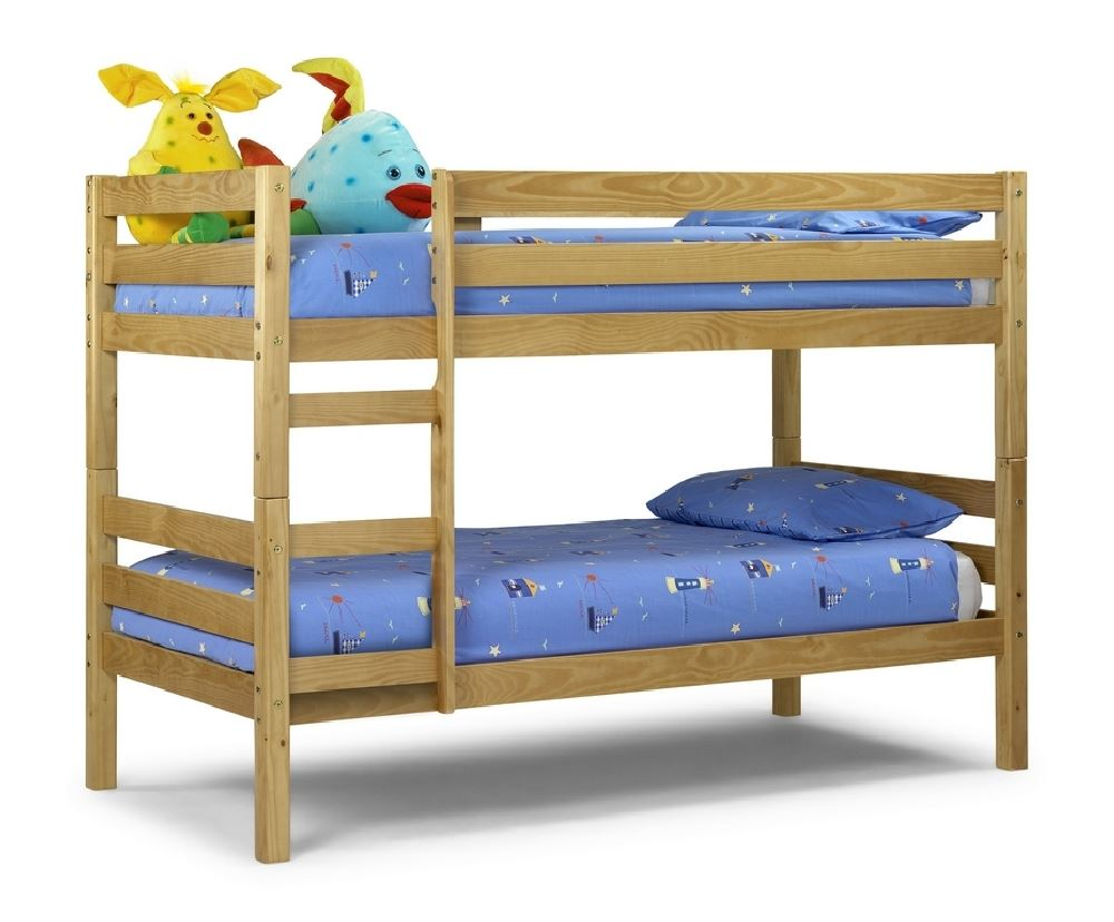 waxed pine wood bunk bed set with 2 mattresses bedroom beds furniture