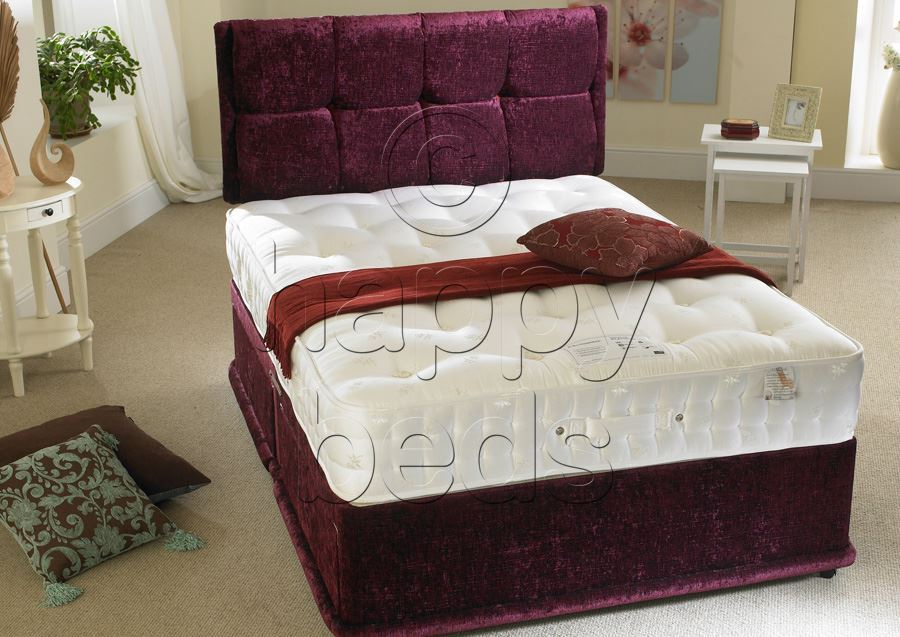 Happy beds 5ft king size divan bed organic 2000 pocket for King size divan bed and mattress deals