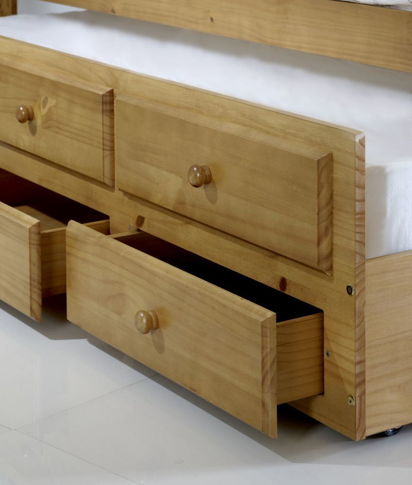 rosie pine bunk bed with storage drawers and trundle