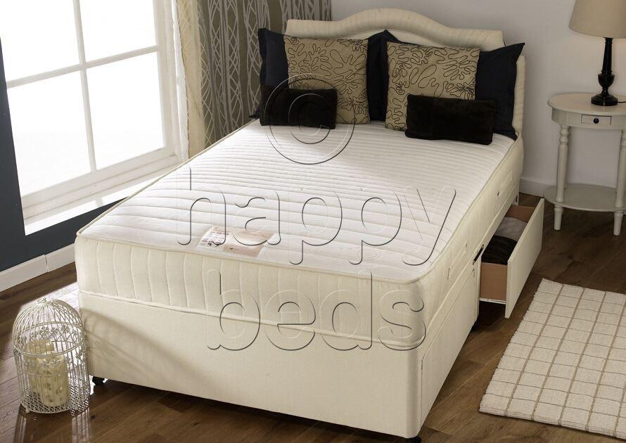 Details about divan bed with sprung memory foam mattress for Memory foam divan beds sale