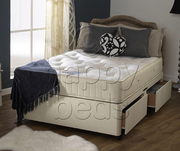 Happy beds 5ft king size divan bed set cream damask for Divan 5ft beds