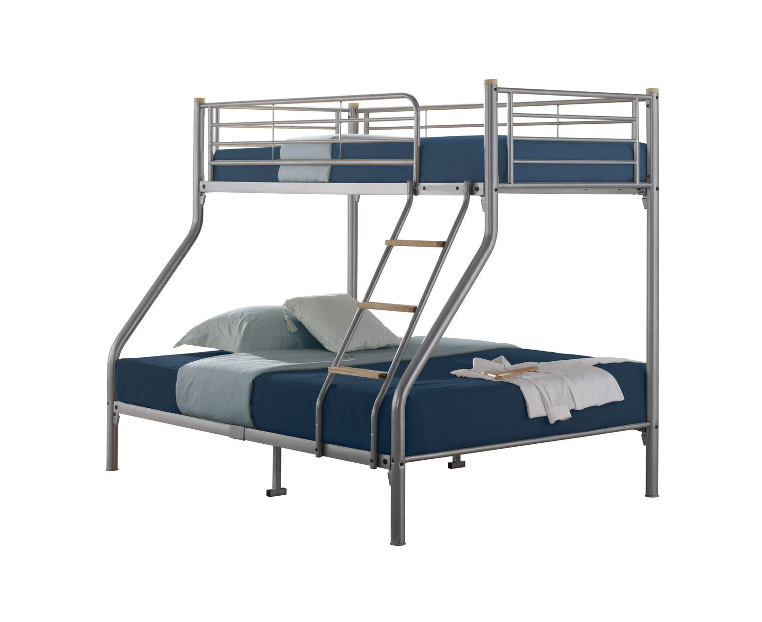 Quality triple sleeper metal bunk bed single top double for Single bunk bed