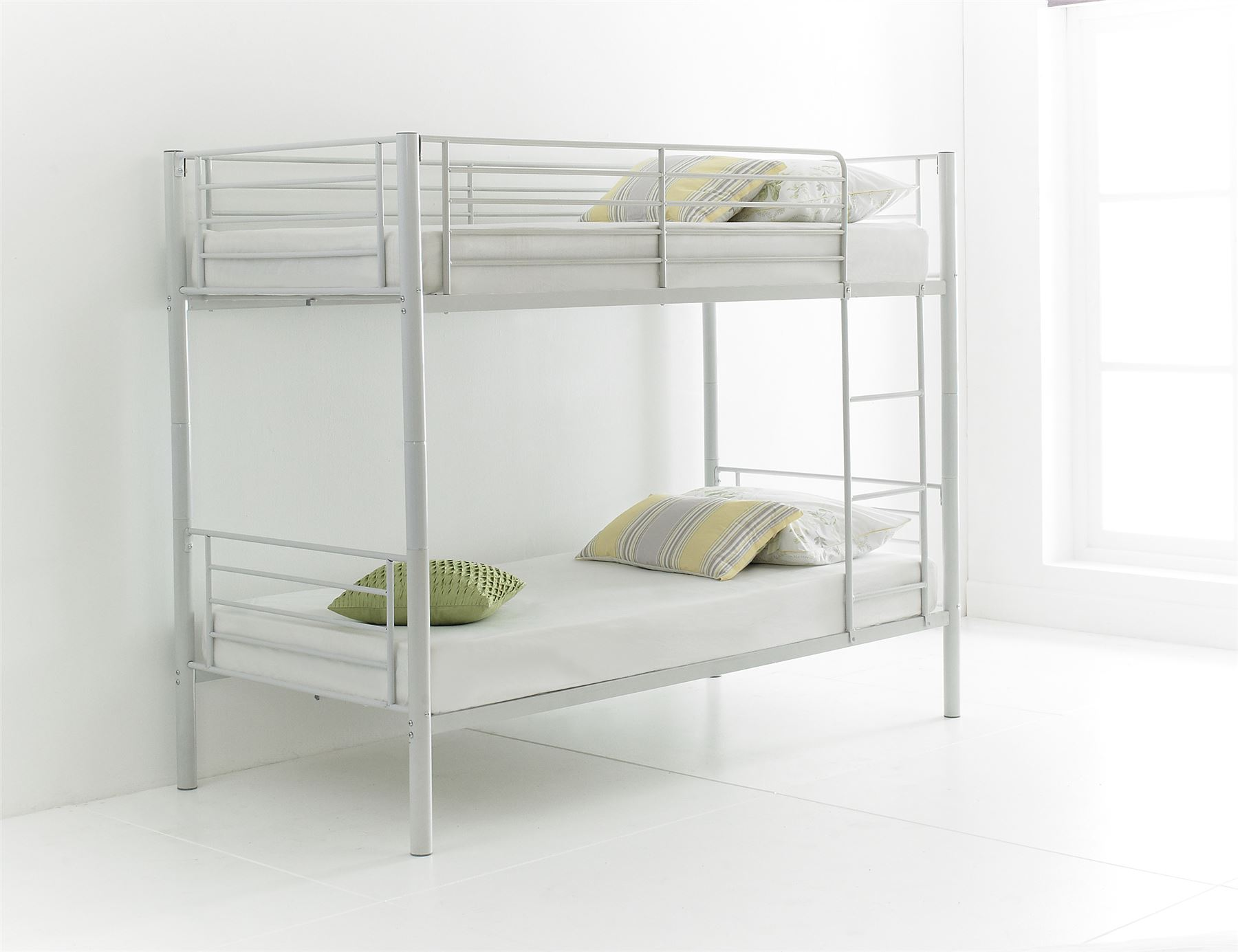 Happy beds cherry quality metal bunk bed 3ft single 2x for Good quality single beds